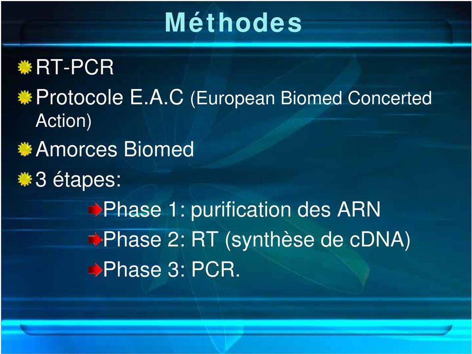 Amorces Biomed 3 étapes: Phase 1: