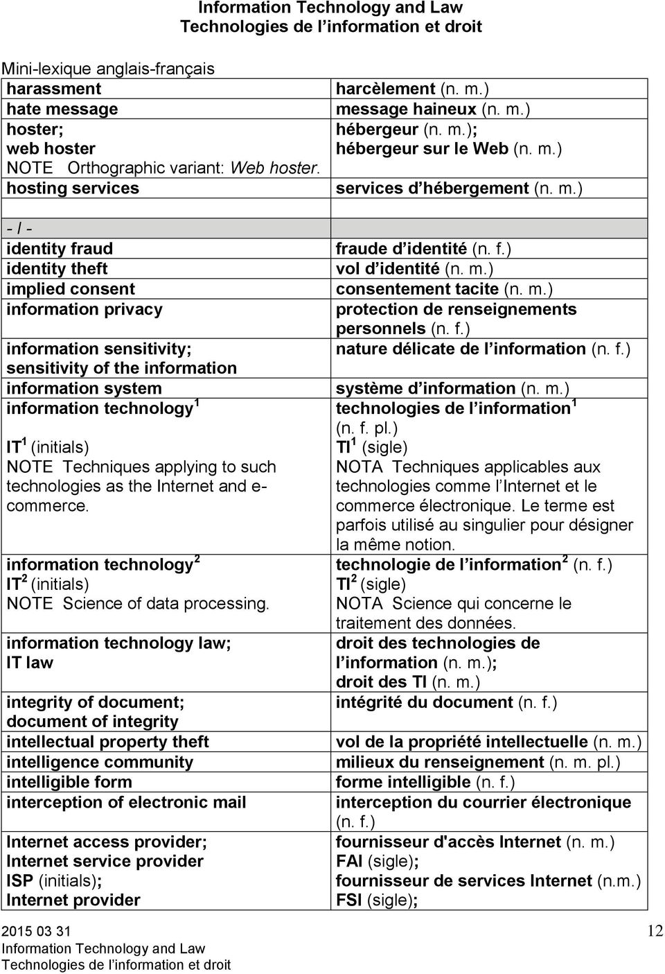 sensitivity of the information information system information technology 1 IT 1 (initials) NOTE Techniques applying to such technologies as the Internet and e- commerce.