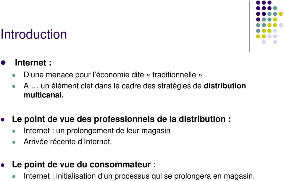 Le point de vue des professionnels de la distribution : Internet : un prolongement de leur