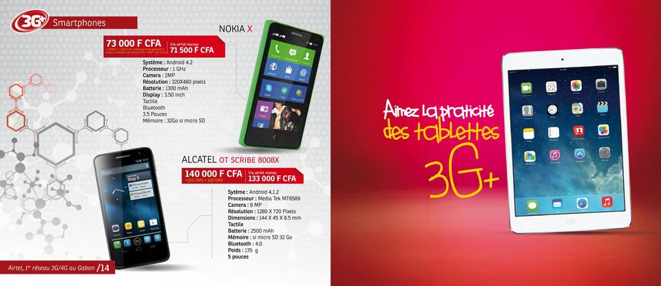 2 Processeur : 1 GHz Camera : 2MP Résolution : 320X480 pixels Batterie :1300 mah Display : 3.50 inch Tactile Bluetooth 3.