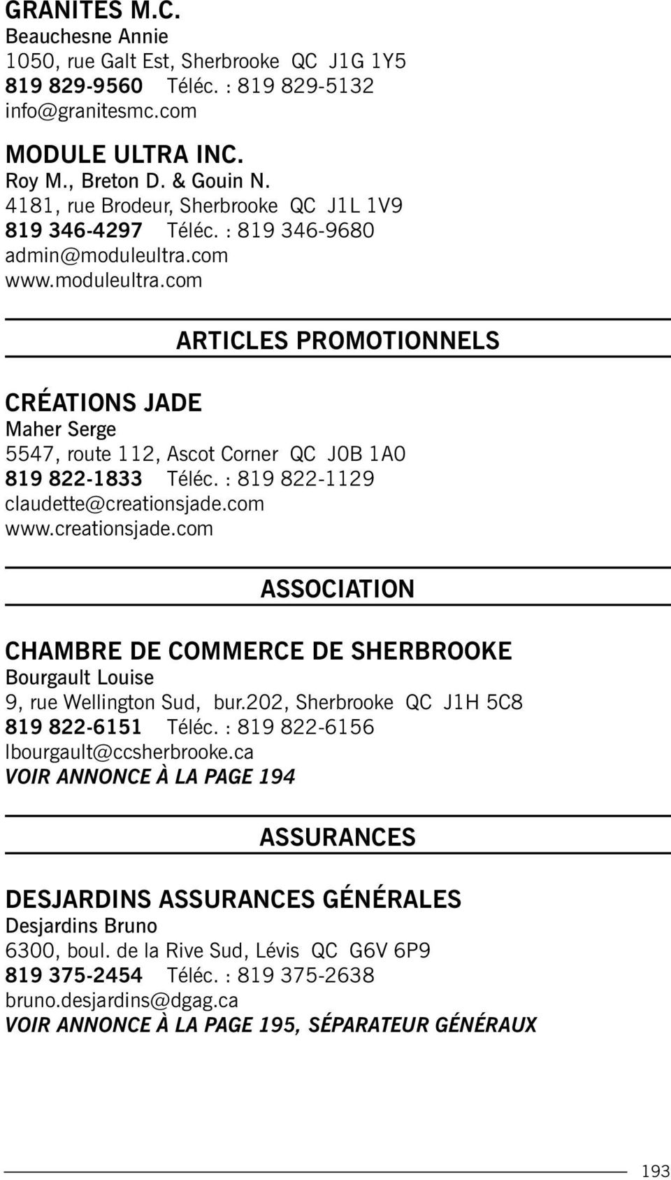 Danielle par index graphisme r daction r vision pdf for Chambre commerce sherbrooke