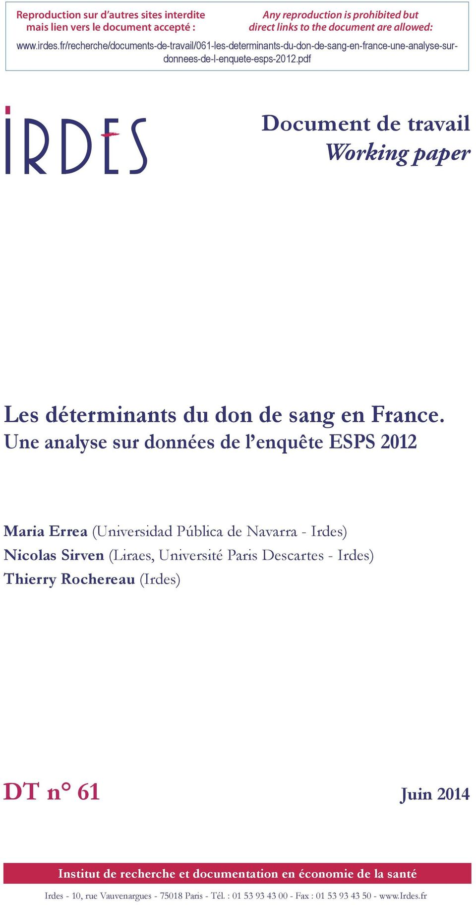 pdf Document de travail Working paper Les déterminants du don de sang en France.