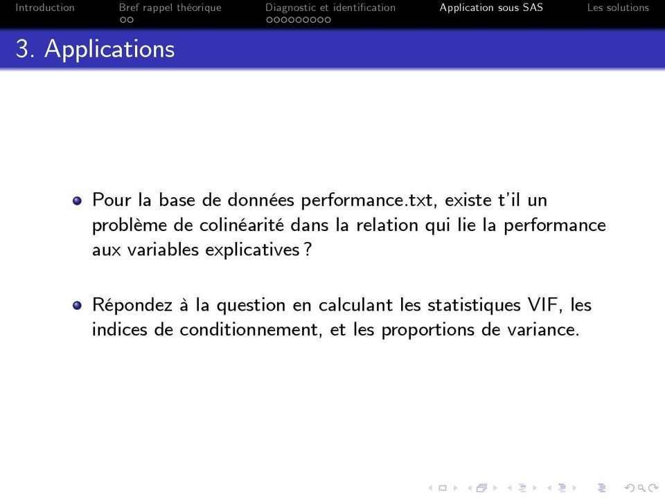 performance aux variables explicatives?