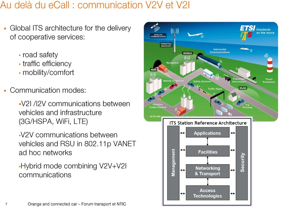 between vehicles and infrastructure (3G/HSPA, WiFi, LTE) V2V communications between vehicles and RSU in 802.