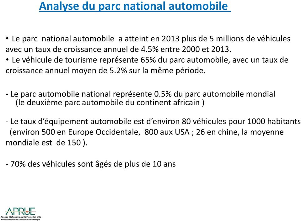 - Le parc automobile national représente 0.