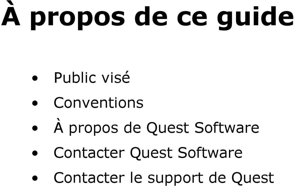 Quest Software Contacter Quest