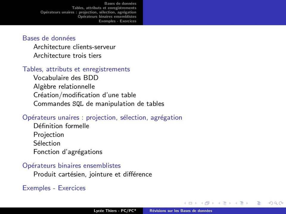 table Commandes SQL de manipulation de tables Définition formelle