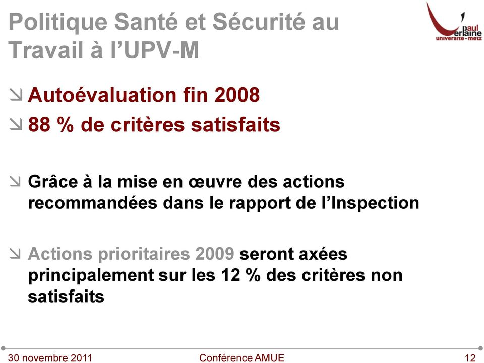 Inspection Actions prioritaires 2009 seront axées principalement