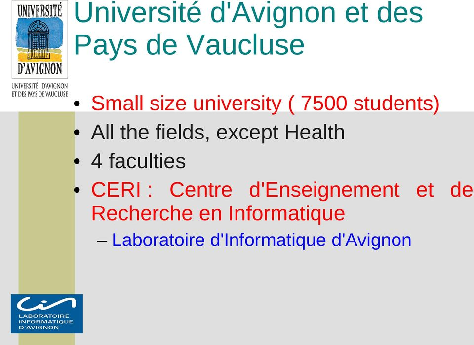 Health 4 faculties CERI : Centre d'enseignement et de