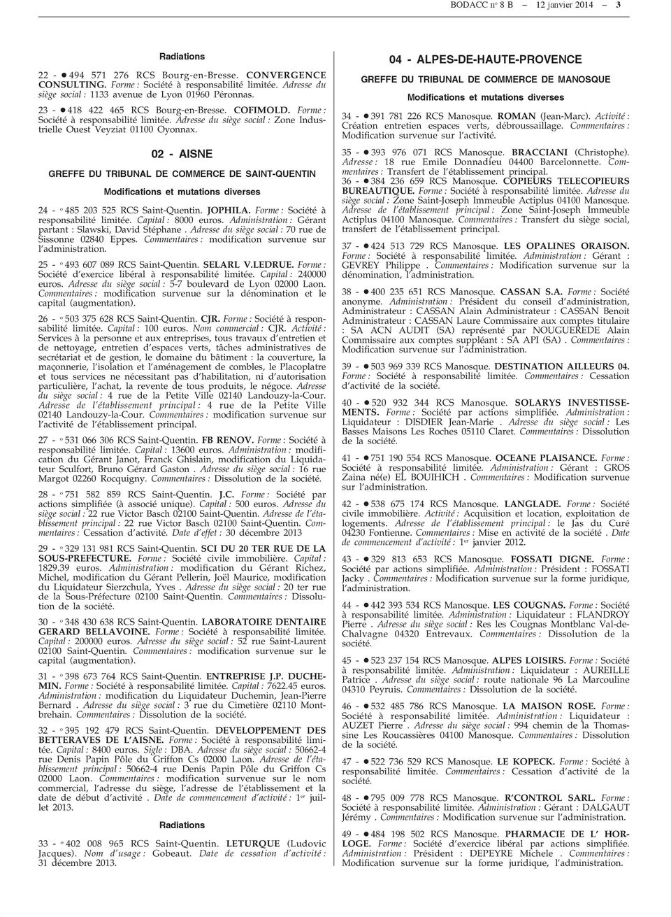 Bodacc bulletin officiel des annex au journal officiel de la r publique fran aise bodacc c - Greffe du tribunal de commerce salon de provence ...
