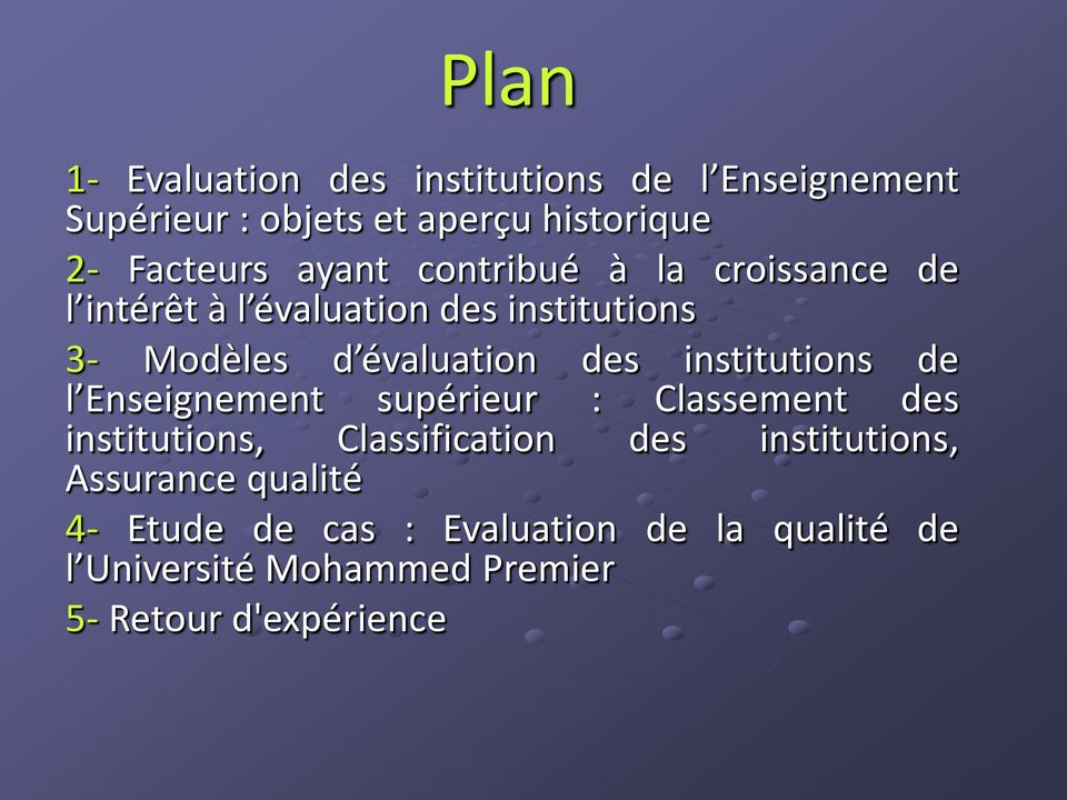institutions de l Enseignement supérieur : Classement des institutions, Classification des institutions,
