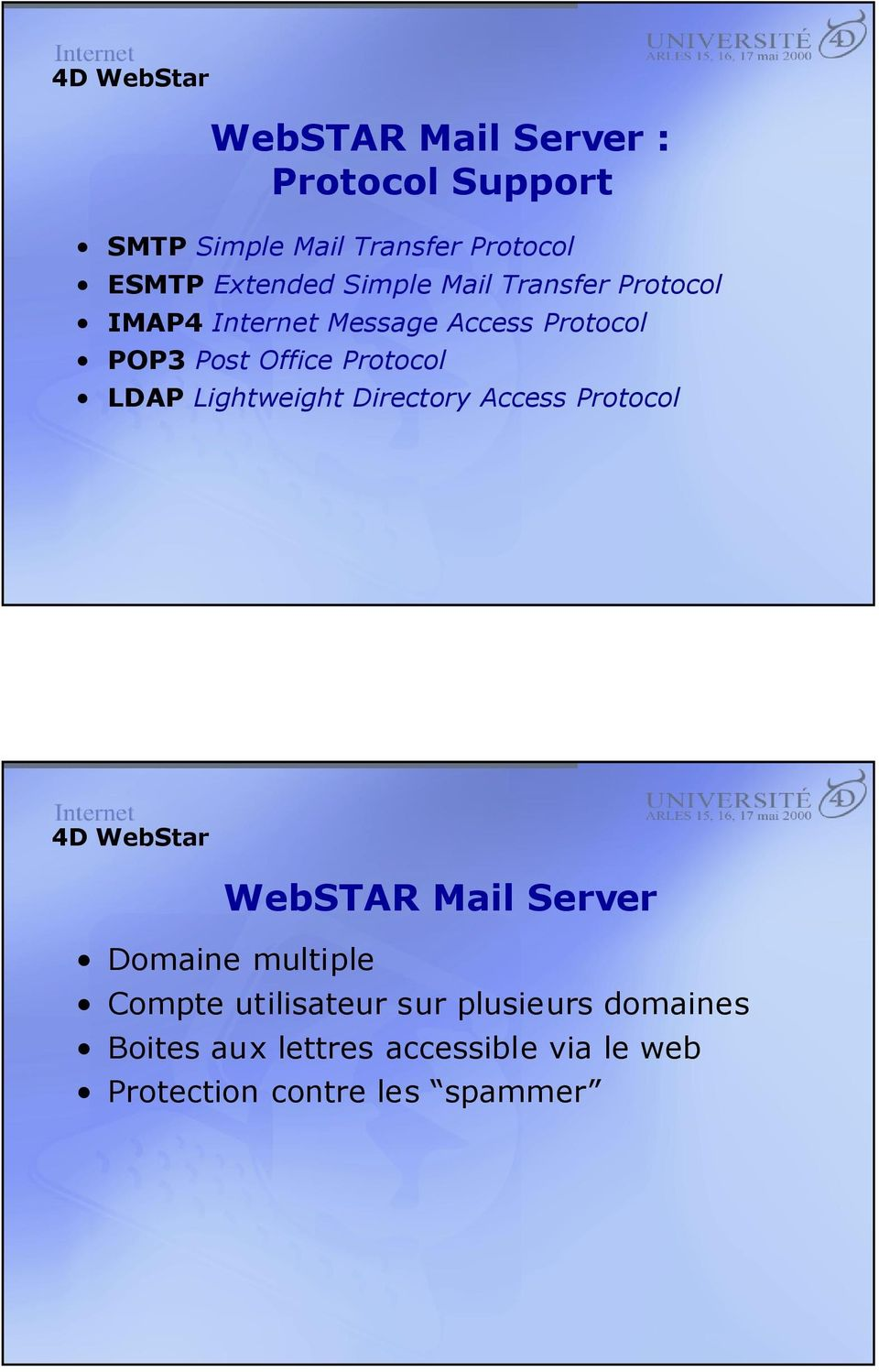 Protocol LDAP Lightweight Directory Access Protocol WebSTAR Mail Server Domaine multiple