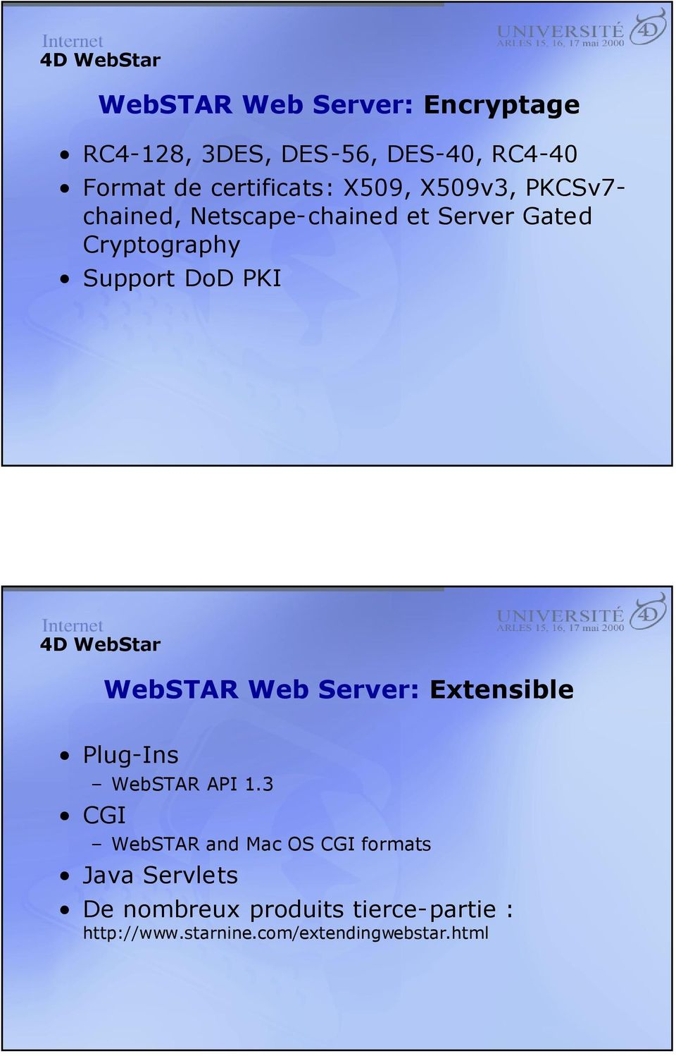 WebSTAR Web Server: Extensible Plug-Ins WebSTAR API 1.