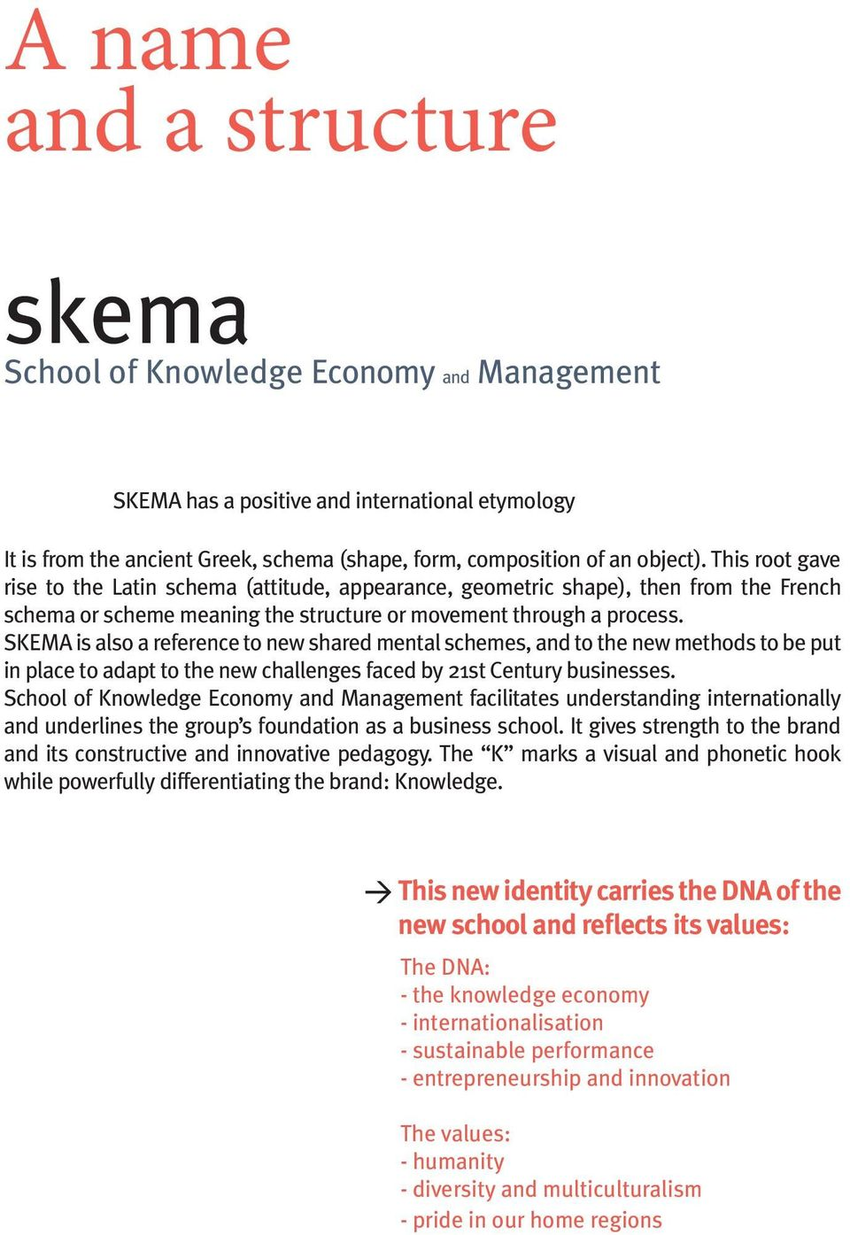 SKEMA is also a reference to new shared mental schemes, and to the new methods to be put in place to adapt to the new challenges faced by 21st Century businesses.