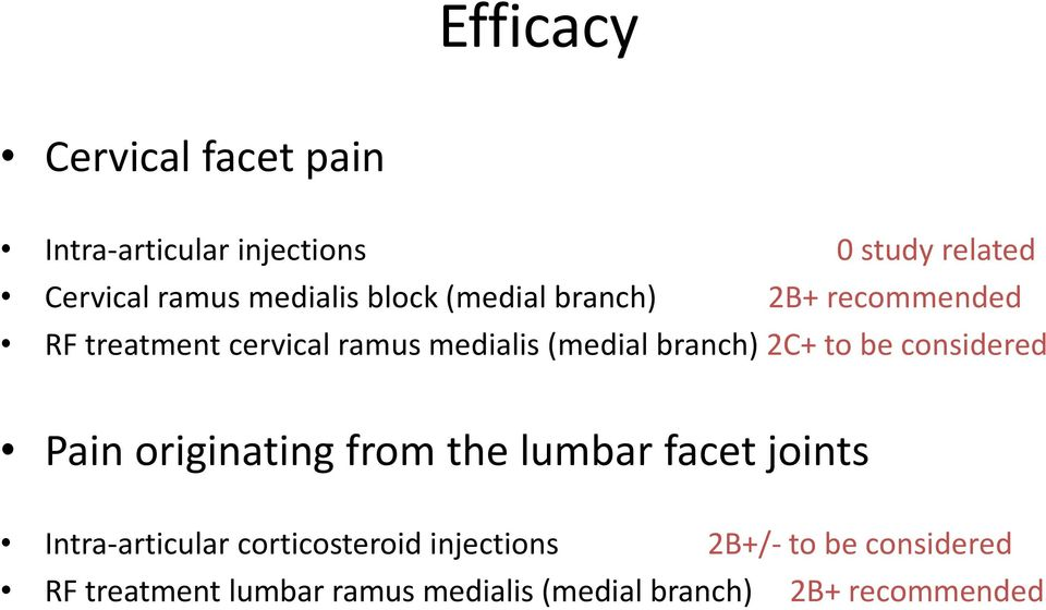 to be considered Pain originating from the lumbar facet joints Intra-articular corticosteroid