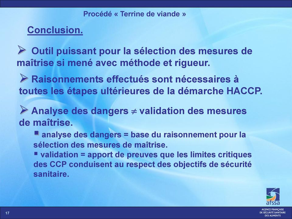 Analyse des dangers validation des mesures de maîtrise.