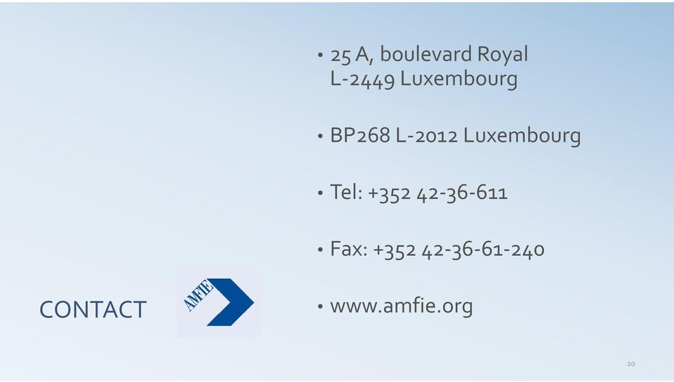 Luxembourg Tel: +352 42 36 611