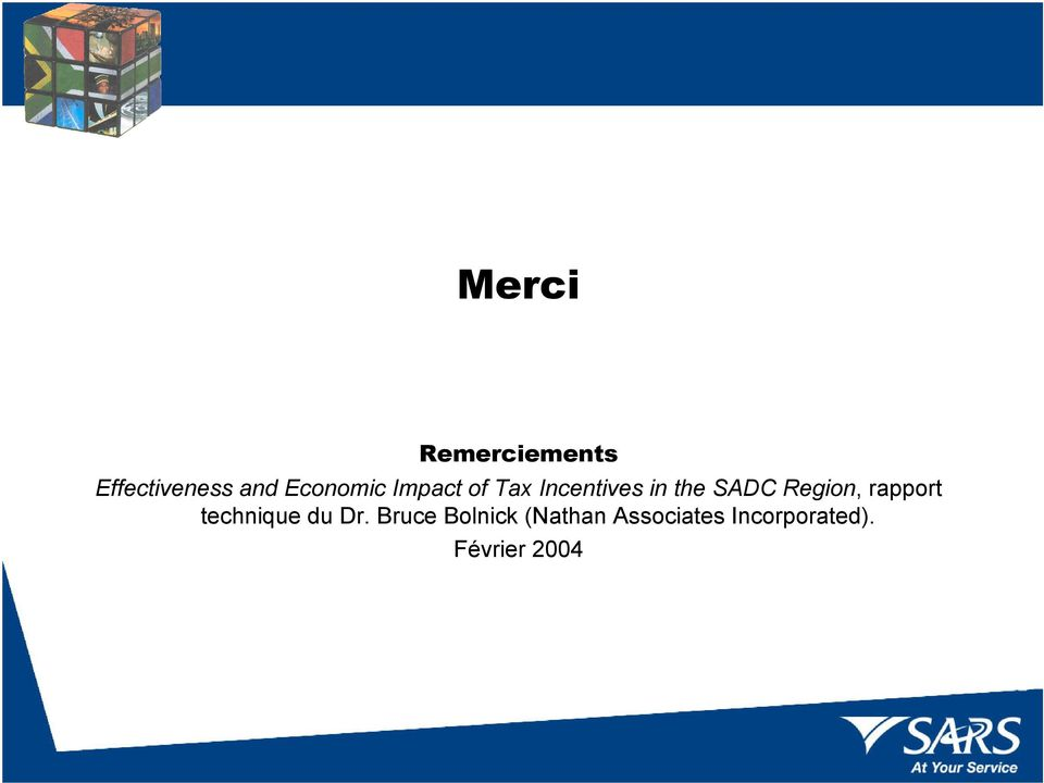 SADC Region, rapport technique du Dr.