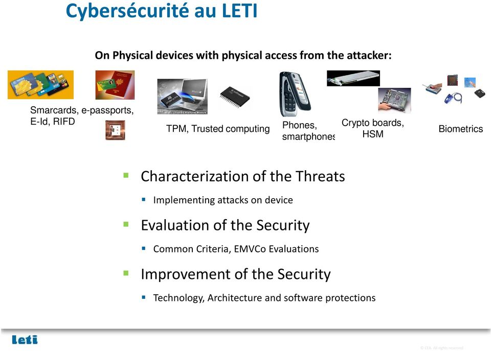 Characterization of the Threats Implementing attacks on device Evaluation of the Security Common