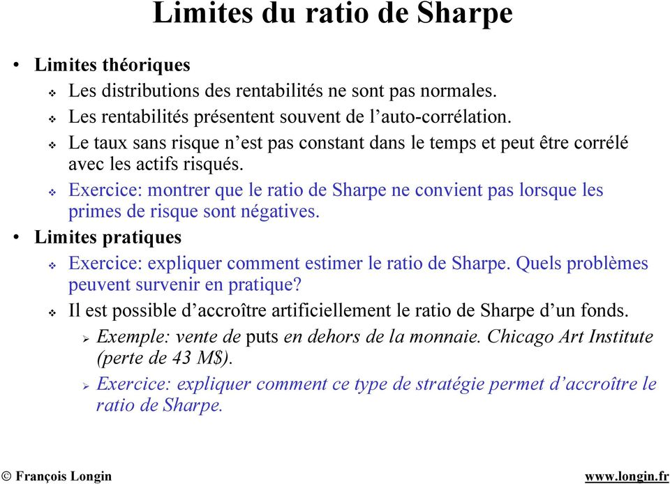 sharpe ratio fonds