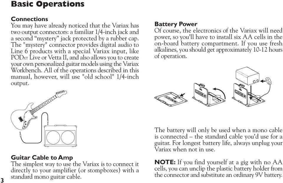"Variax Workbench. All of the operations described in this manual, however, will use ""old school"" 1/4-inch output."