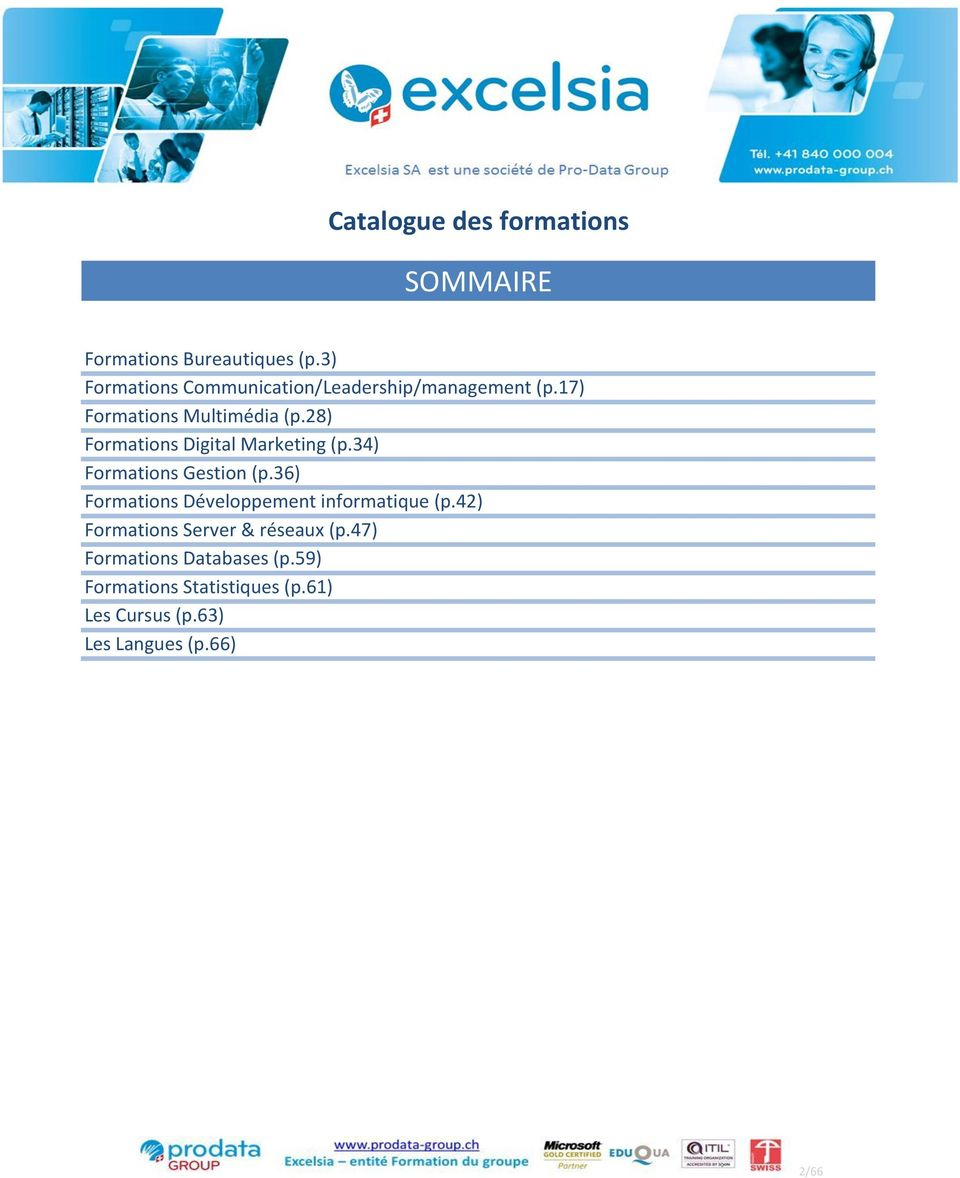28) Formations Digital Marketing (p.34) Formations Gestion (p.