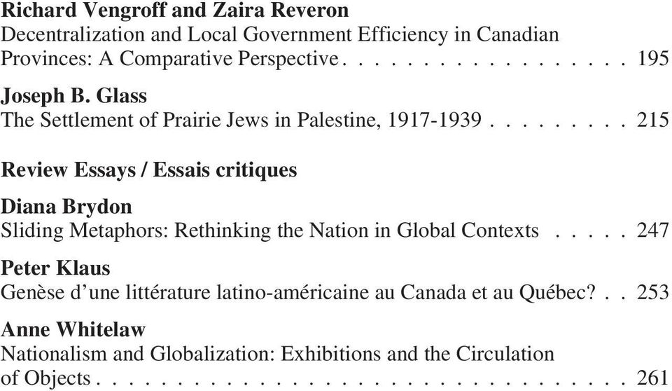 ..215 Review Essays / Essais critiques Diana Brydon Sliding Metaphors: Rethinking the Nation in Global Contexts.