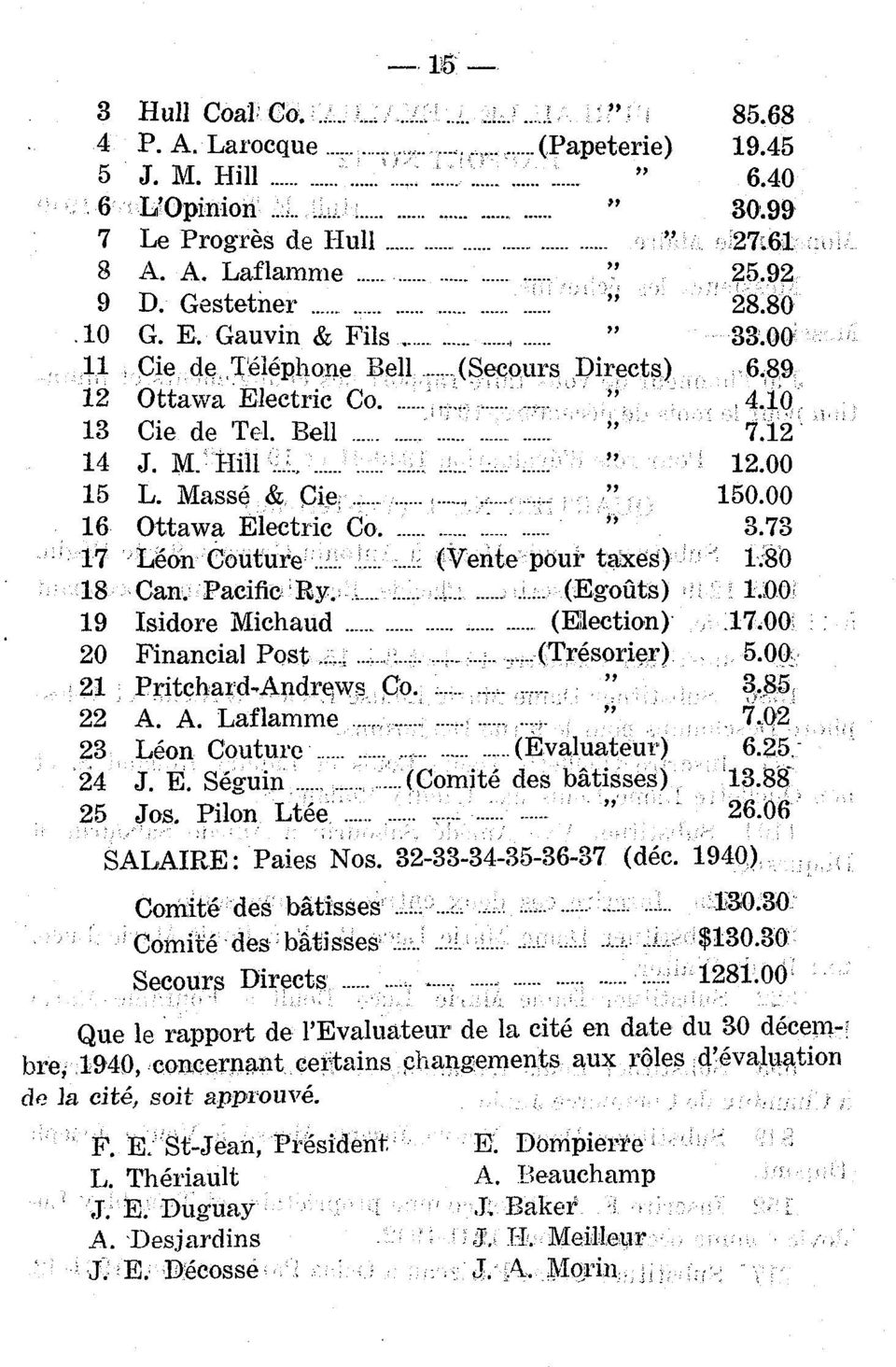 ".. (Vente pour taxes) ' 1.80 Can. Pacifie 'Ry....!... (Egoûts 19 Isidore Michaud... (Eilection 20 Financial Post... (Trésorier) 5.00. 21 Pritchar d-andrews Co.... "" 3.85 22 A. A. Laflamme..,....:."