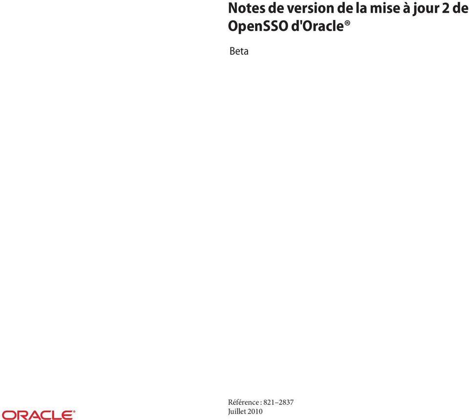 OpenSSO d'oracle Beta