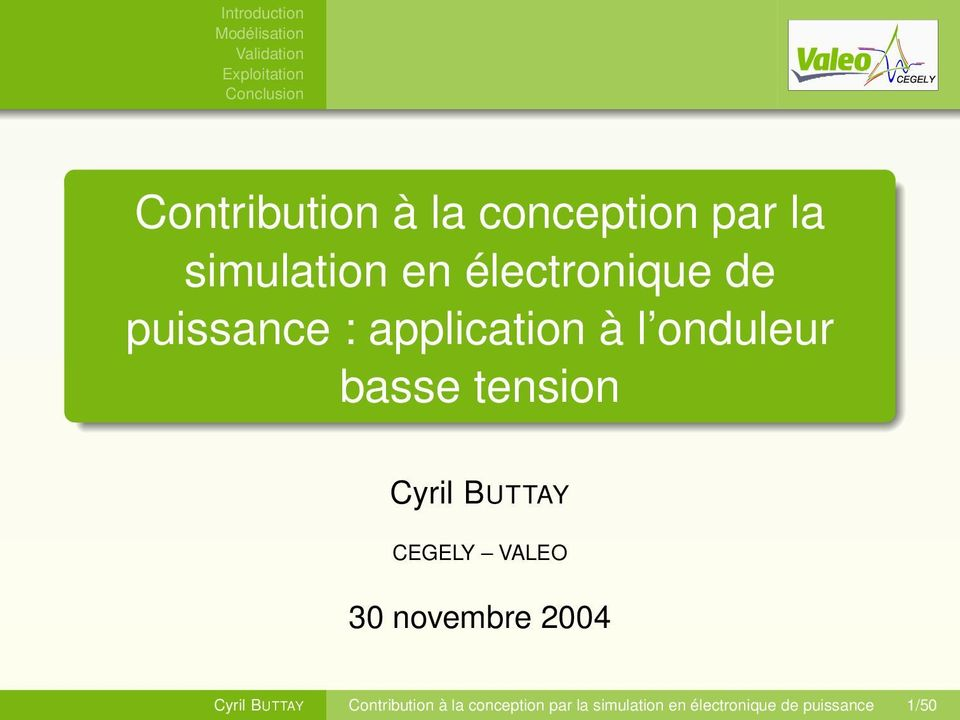 BUTTAY CEGELY VALEO 30 novembre 2004 Cyril BUTTAY  de puissance