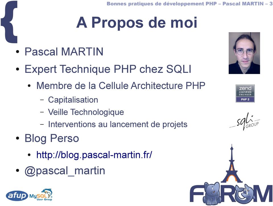 Architecture PHP Capitalisation Veille Technologique Interventions au