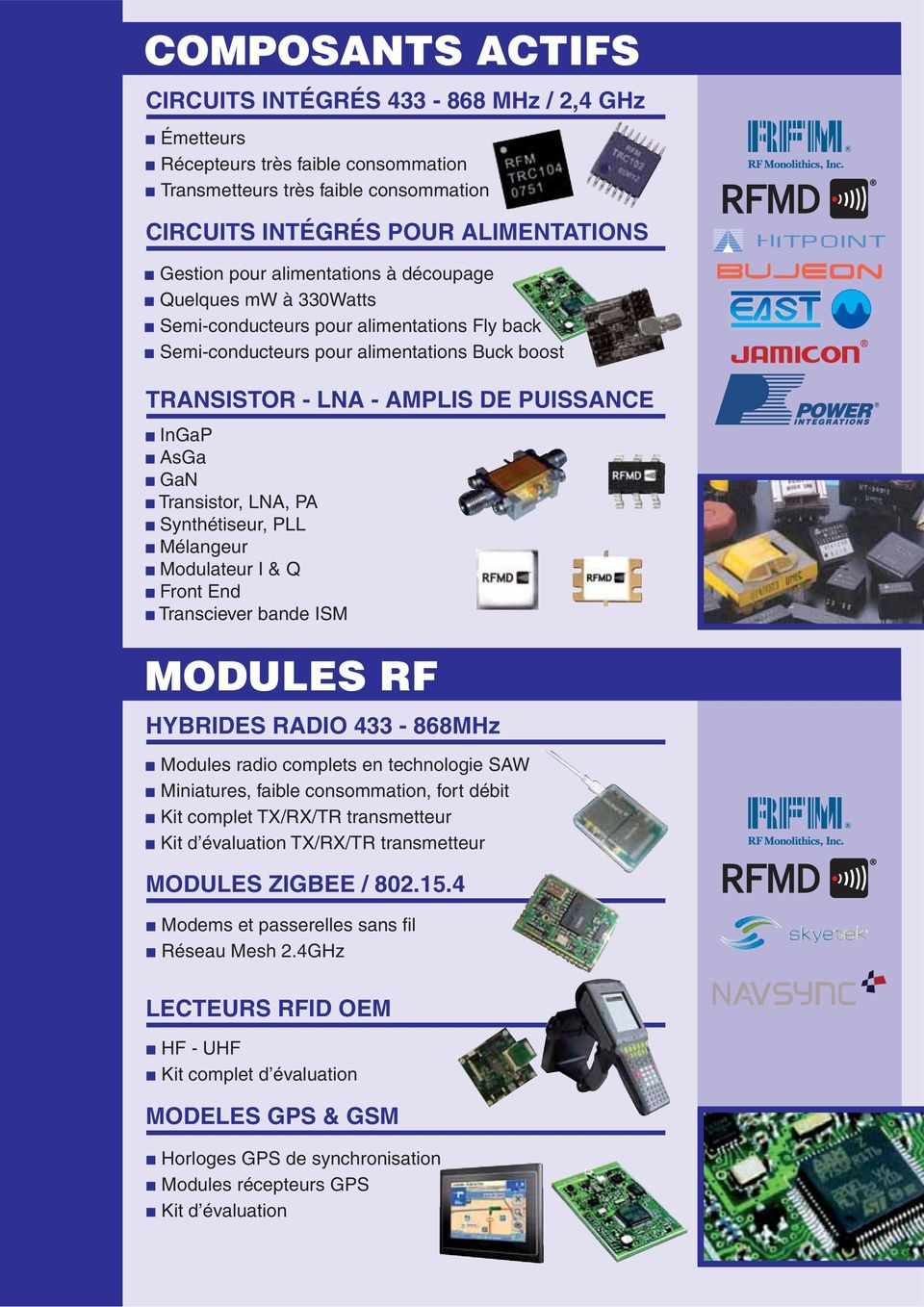 Transistor, LNA, PA Synthétiseur, PLL Mélangeur Modulateur I & Q Front End Transciever bande ISM MODULES RF HYBRIDES RADIO 433-868MHz Modules radio complets en technologie SAW Miniatures, faible