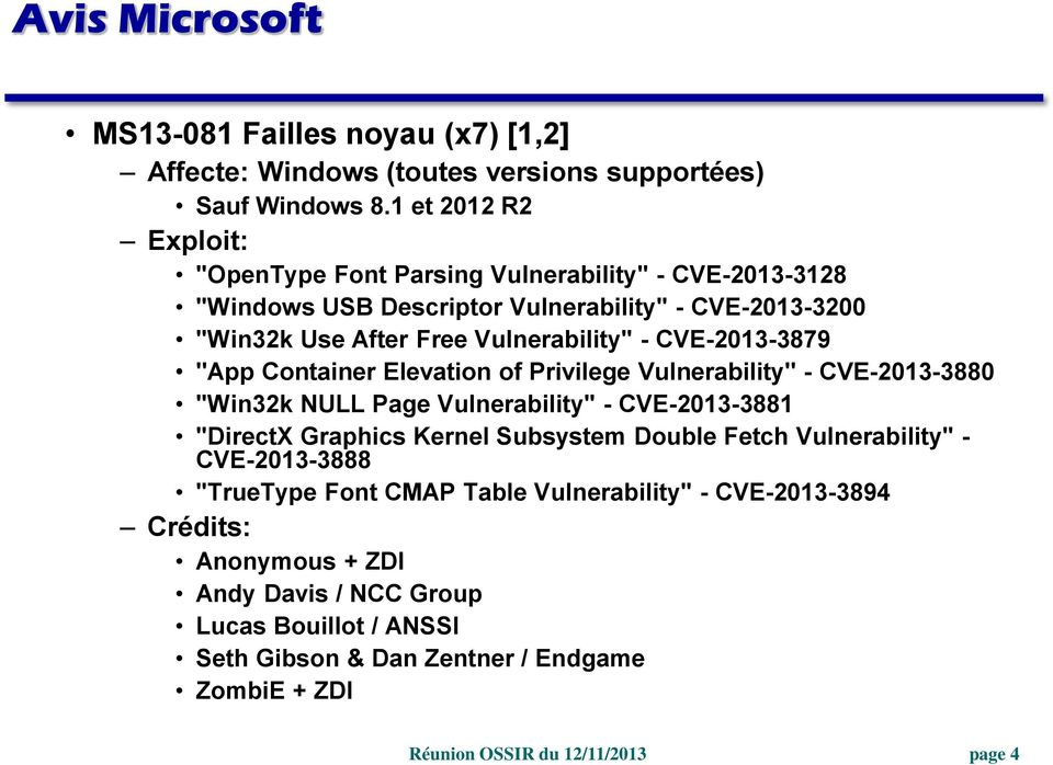 "- CVE-2013-3879 ""App Container Elevation of Privilege Vulnerability"" - CVE-2013-3880 ""Win32k NULL Page Vulnerability"" - CVE-2013-3881 ""DirectX Graphics Kernel Subsystem"