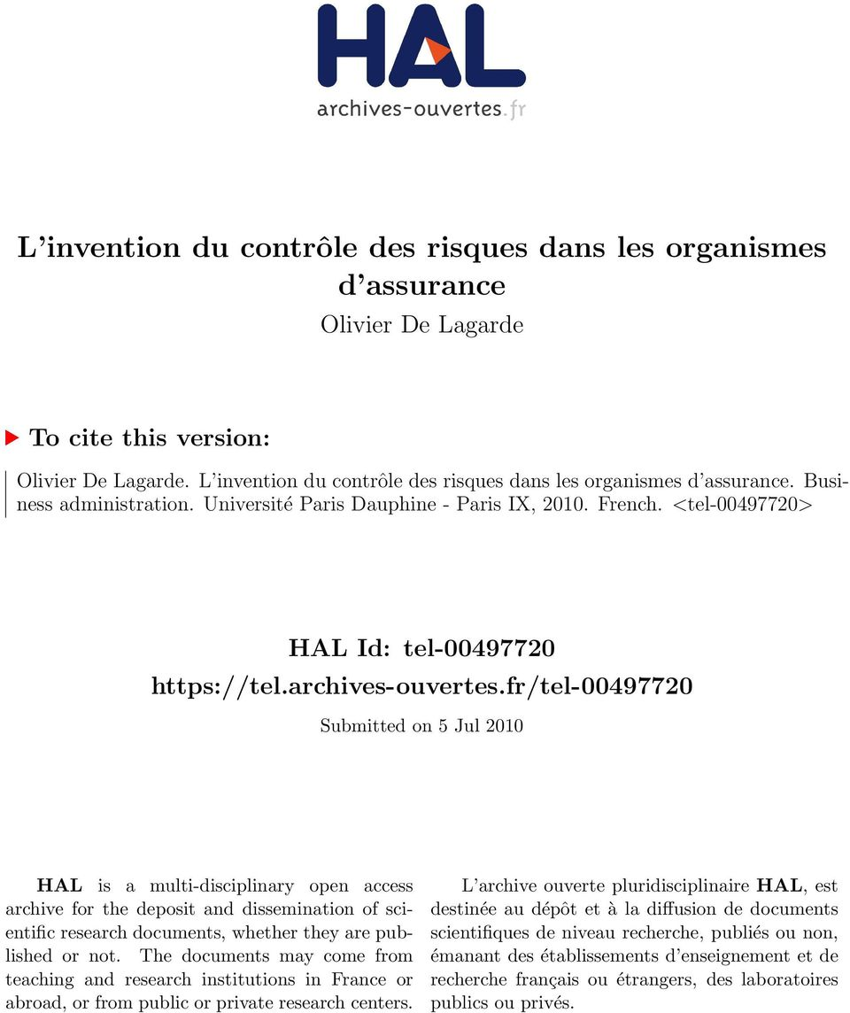 fr/tel-00497720 Submitted on 5 Jul 2010 HAL is a multi-disciplinary open access archive for the deposit and dissemination of scientific research documents, whether they are published or not.