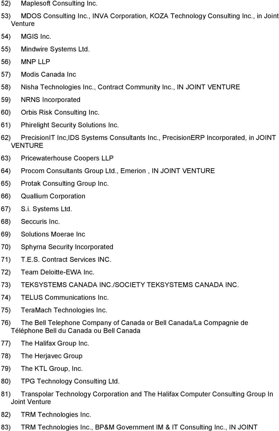 62) PrecisionIT Inc,IDS Systems Consultants Inc., PrecisionERP Incorporated, in JOINT VENTURE 63) Pricewaterhouse Coopers LLP 64) Procom Consultants Group Ltd.