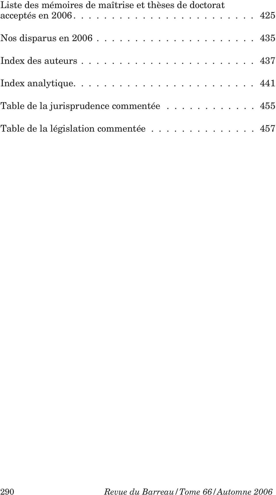 ...................... 437 Index analytique........................ 441 Table de la jurisprudence commentée.