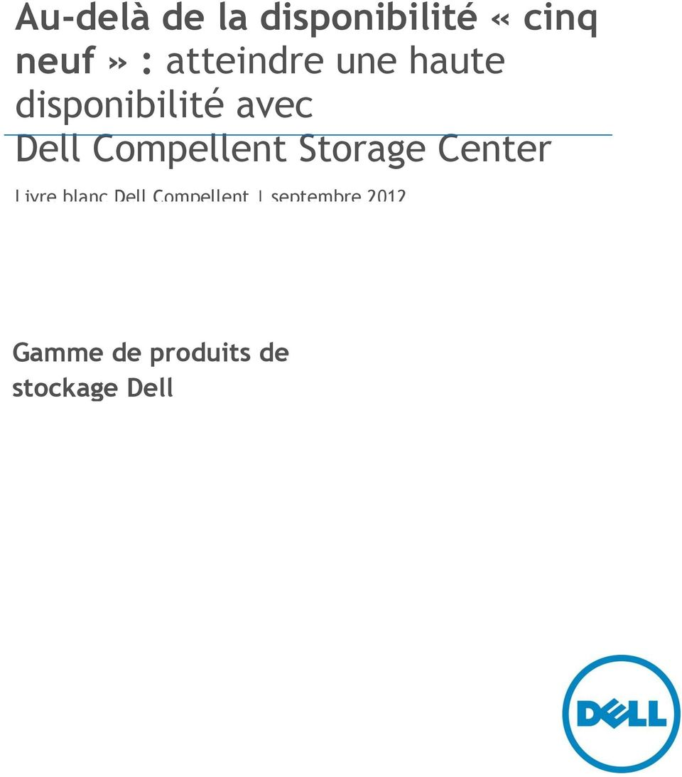 Compellent Storage Center Livre blanc Dell