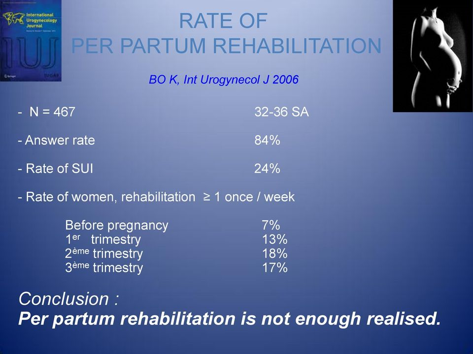 rehabilitation 1 once / week Before pregnancy 7% 1 er trimestry 13% 2 ème