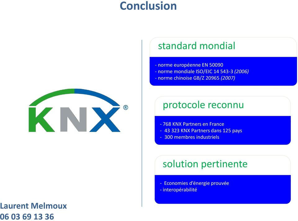 en France - 43 323 KNX Partners dans 125 pays - 300 membres industriels solution