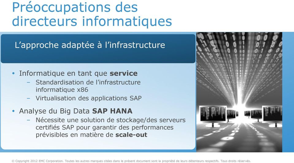 Virtualisation des applications SAP Analyse du Big Data SAP HANA Nécessite une solution de