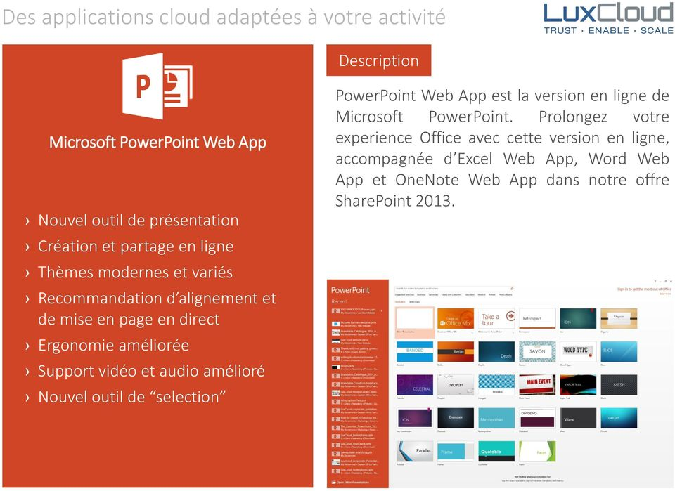 outil de selection PowerPoint Web App est la version en ligne de Microsoft PowerPoint.