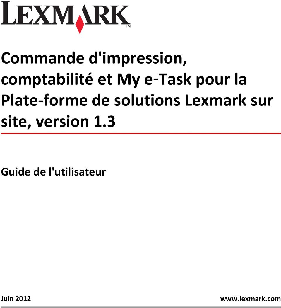 solutions Lexmark sur site, version 1.