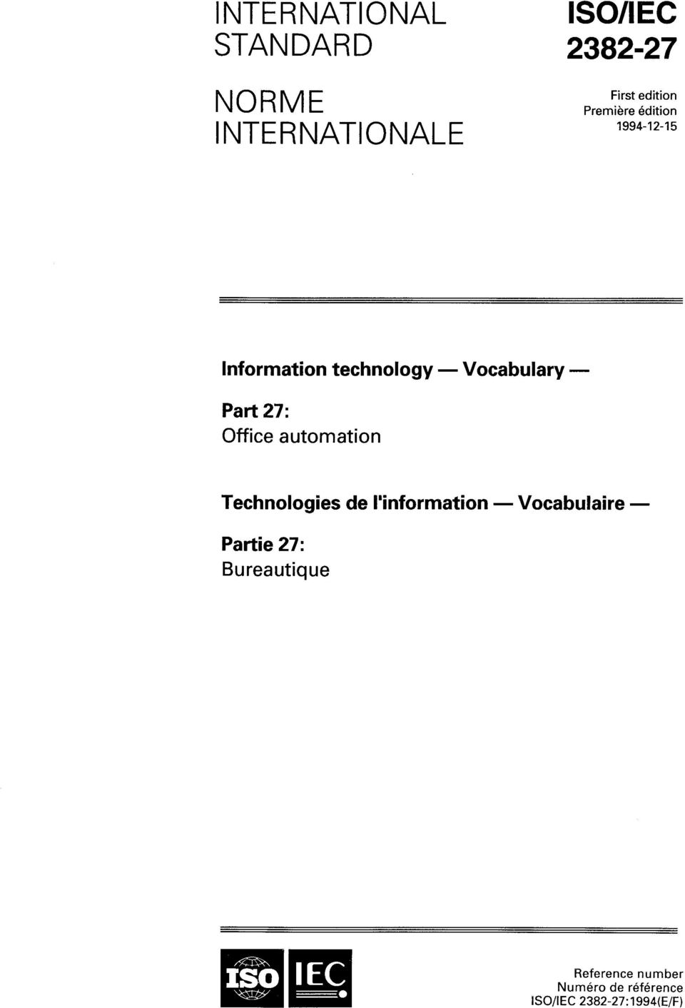 Office automation Technologies de Unformation - Vocabulaire - Partie 27:
