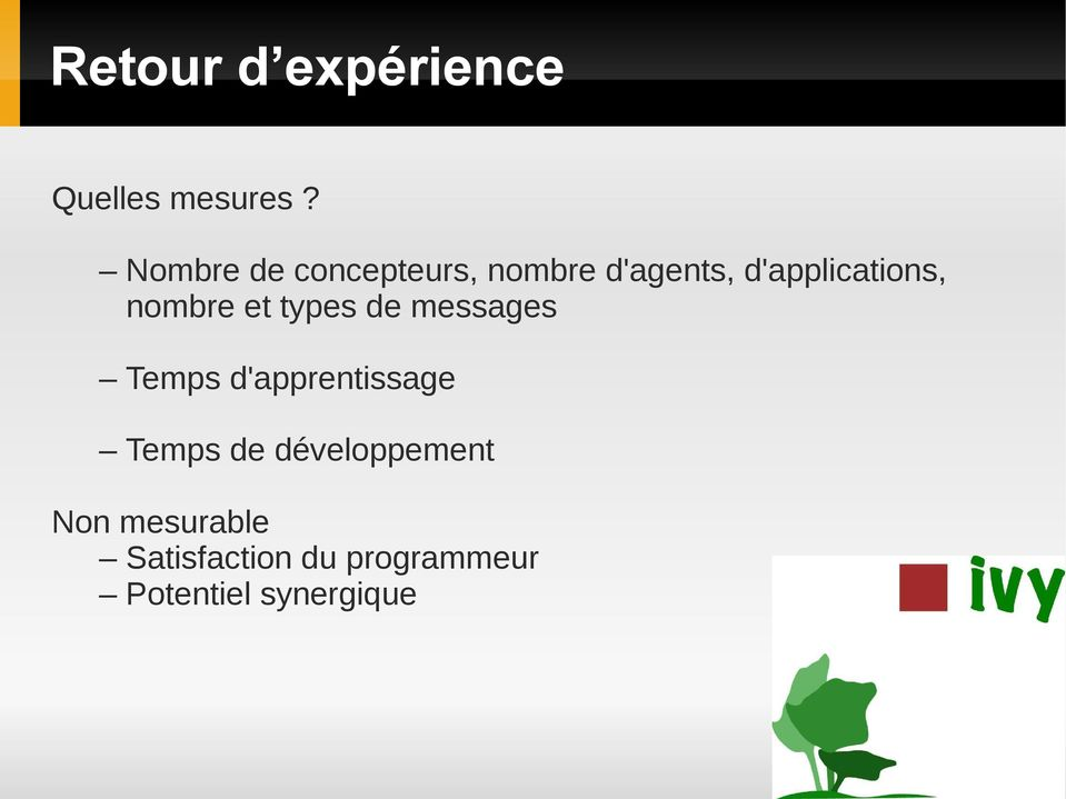 nombre et types de messages Temps d'apprentissage Temps
