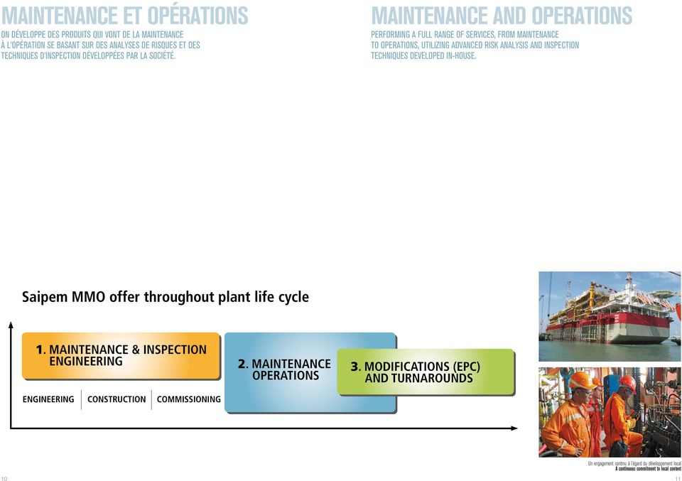 MAINTENANCE AND OPERATIONS PERFORMING A FULL RANGE OF SERVICES, FROM MAINTENANCE TO OPERATIONS, UTILIZING ADVANCED RISK ANALYSIS AND INSPECTION TECHNIQUES