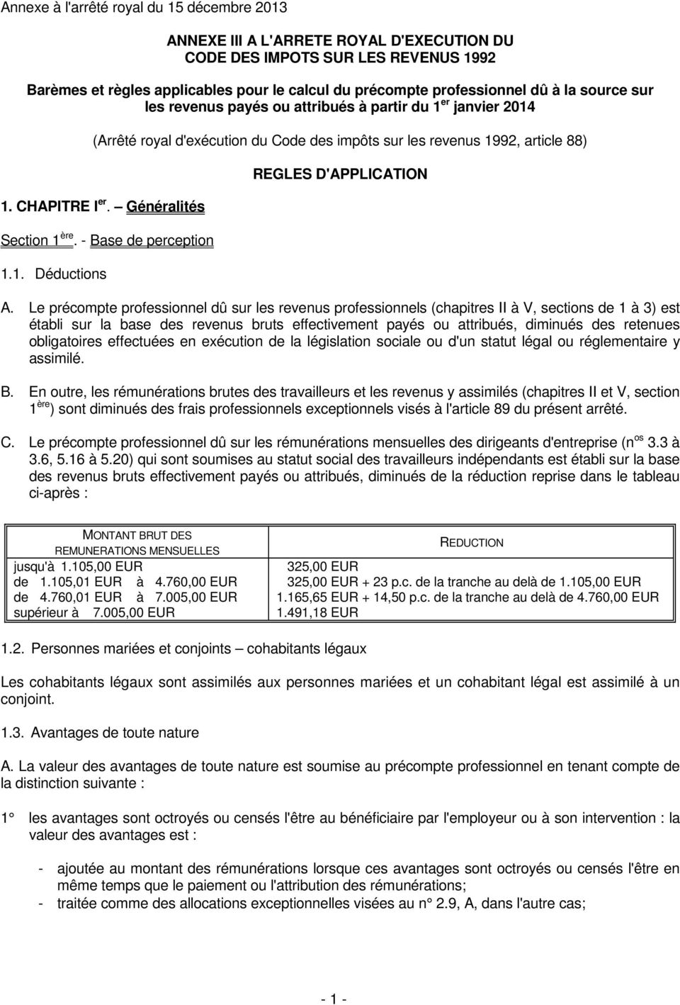 - Base de perception 1.1. Déductions REGLES D'APPLICATION A.