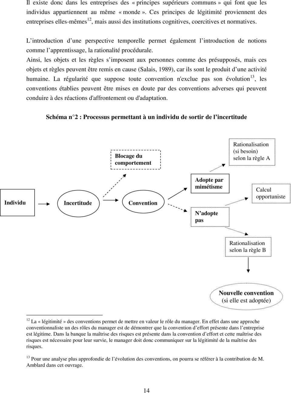 L introduction d une perspective temporelle permet également l introduction de notions comme l apprentissage, la rationalité procédurale.