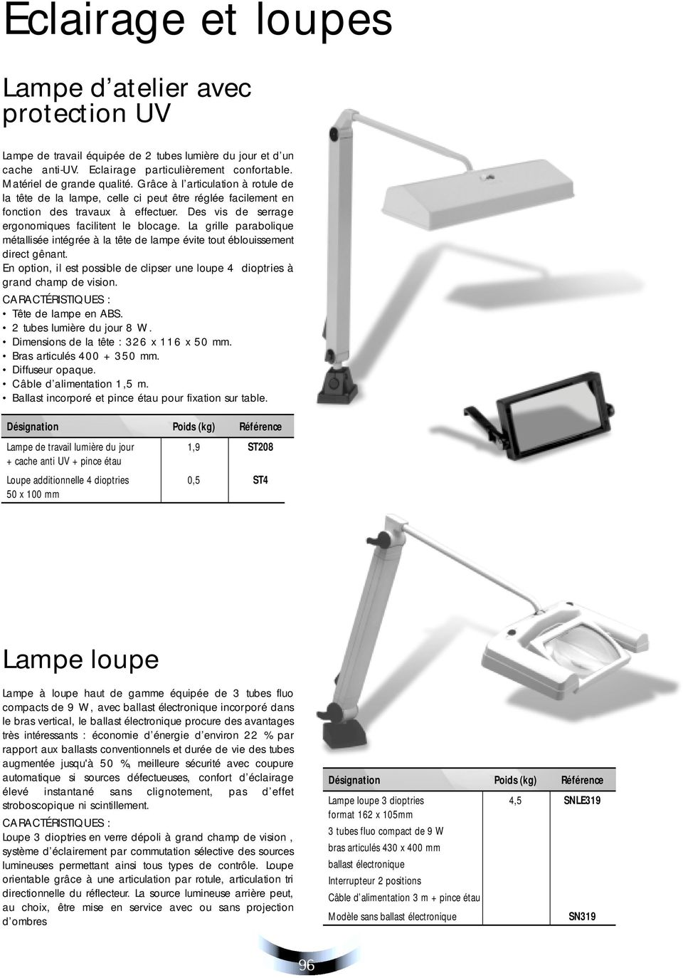 La grille parabolique métallisée intégrée à la tête de lampe évite tout éblouissement direct gênant. En option, il est possible de clipser une loupe 4 dioptries à grand champ de vision.