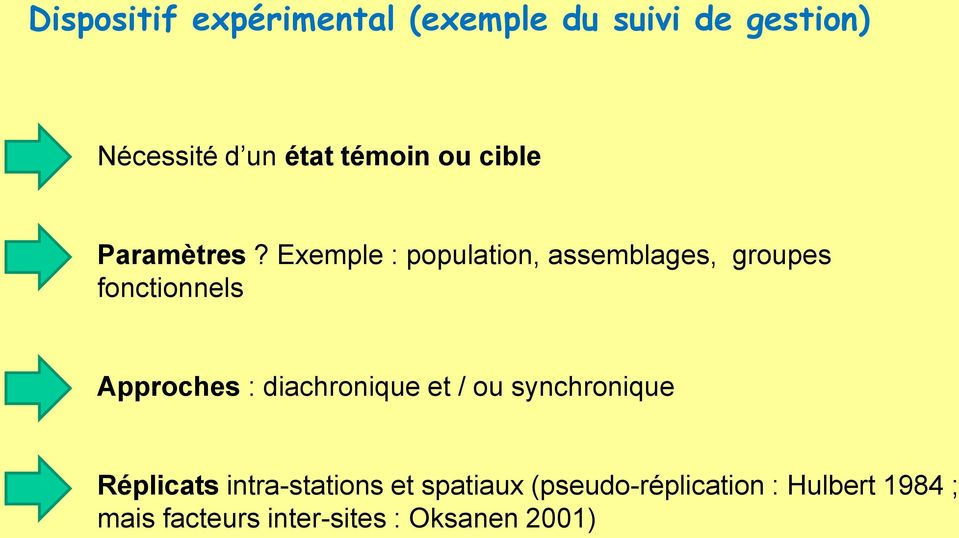 Exemple : population, assemblages, groupes fonctionnels Approches :