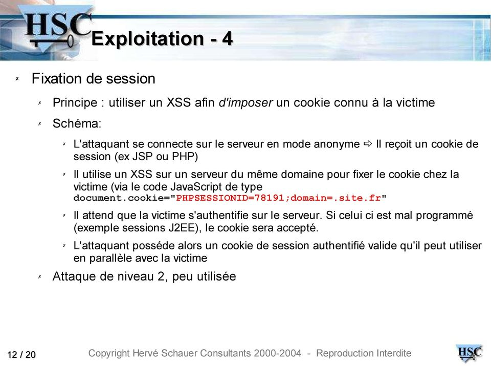 "type document.cookie=""phpsessionid=78191;domain=.site.fr"" Il attend que la victime s'authentifie sur le serveur."